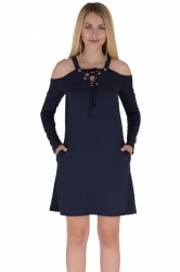 V-Neck Eyelet Lace Up Cold Shoulder Pocket Long Sleeve Dress Navy Blue