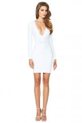 Womens Deep V Long Sleeve Eyelet Lace Up Zipper Evening Dress White