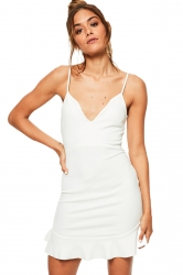 Womens Deep V Spaghetti Straps Backless Ruffle Bodycon Dress White