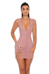 Womens Deep V-Neck Sleeveless Eyelet Lace Up Zipper Bodycon Dress Pink