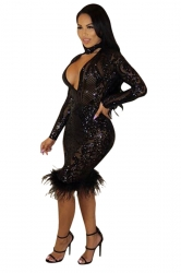 Womens Sexy Deep V Halter Lace Sheer Sequined Clubwear Dress Black