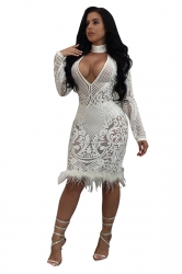 Womens Sexy Deep V Halter Lace Sheer Sequined Clubwear Dress White