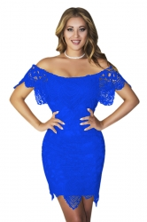 Womens Sexy Off Shoulder Cut Out Midi Lace Clubwear Dress Blue