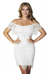 Womens Sexy Off Shoulder Cut Out Midi Lace Clubwear Dress White
