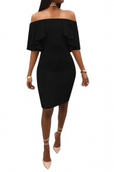 Womens Sexy Off Shoulder High Waist Ruffle Midi Clubwear Dress Black