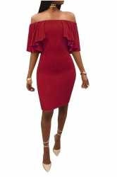 Womens Sexy Off Shoulder High Waist Ruffle Midi Clubwear Dress Ruby