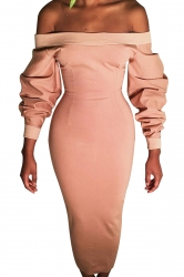 Womens Sexy Off Shoulder Long Sleeve Wrap Maxi Clubwear Dress Pink