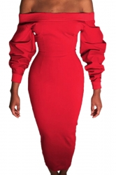 Womens Sexy Off Shoulder Long Sleeve Wrap Maxi Clubwear Dress Red