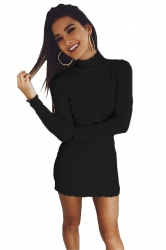 Womens Sexy Long Sleeve Maxi Pullover Sweater Clubwear Dress Black