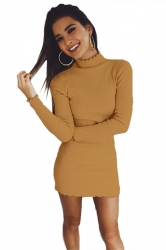 Womens Sexy Long Sleeve Maxi Pullover Sweater Clubwear Dress Yellow