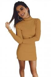 Womens Sexy Long Sleeve Maxi Pullover Sweater Clubwear Dress Yellow