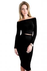 Womens Off Shoulder Long Sleeve Maxi Two-Piece Clubwear Dress Black