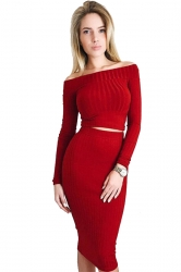 Womens Off Shoulder Long Sleeve Maxi Two-Piece Clubwear Dress Red