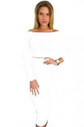 Womens Off Shoulder Long Sleeve Maxi Two-Piece Clubwear Dress White