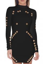 Womens Sexy High Collar Long Sleeve Eyelet Slit Clubwear Dress Black