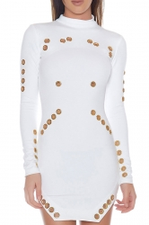 Womens Sexy High Collar Long Sleeve Eyelet Slit Clubwear Dress White