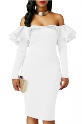 Womens Royal Sexy Off Shoulder Ruffle Long Sleeve Bodycon Dress White