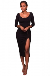 Womens Sexy Side Slit Long Sleeve Studded Plain Bodycon Dress Black