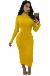 Women High Collar Long Sleeve Lace Up Bodycon Maxi Sweater Dress Yellow