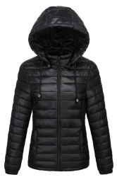 Womens Drawstring Hooded Slant Pocket Full Zipper Down Jacket Black