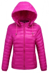 Womens Drawstring Hooded Slant Pocket Full Zipper Down Jacket Purple