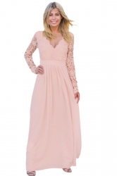 Womens V-Neck Long Sleeve Lace Backless Maxi Evening Dress Pink