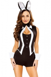Womens Sexy Bodysuit Cute Halloween Bunny Costume Black