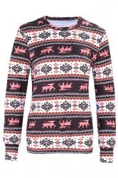 Womens Crew Neck Snowflake Reindeer Ugly Christmas Sweatshirt Pink