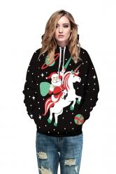 Womens Drawstring Snowflake Santa Printed Christmas Hoodie Black