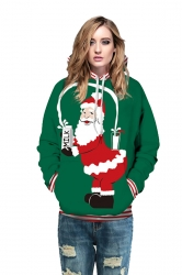 Drawstring Kangaroo Pocket Striped Santa Printed Christmas Hoodie Green
