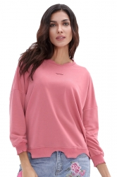 Womens Casual Oversized Long Sleeve Cut Out Plain T-Shirt Pink
