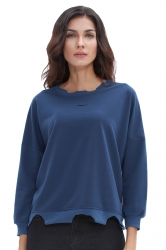Womens Oversized Long Sleeve Cut Out Plain T-Shirt Sapphire Blue