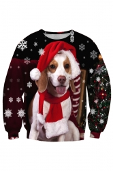 Crew Neck Dog Snowflake Printed Christmas Sweatshirt Beige White