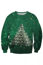 Womens Crew Neck Christmas Tree Printed Sweatshirt Dark Green