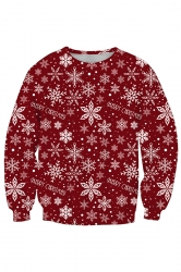 Womens Crew Neck Snowflake Printed Christmas Sweatshirt Dark Red