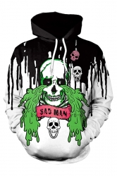 Womens Kangaroo Pocket Skull Printed Halloween Hoodie Black And White