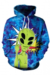 Womens Alien Skeleton Printed Halloween Hoodie Sapphire Blue