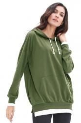 Drawstring Color Block Plus Size Kangaroo Pocket Hoodie Army Green