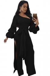 Womens One Shoulder Slit Front Bow Ruffle Flare Sleeve Jumpsuit Black