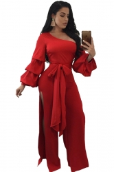 Womens One Shoulder Slit Front Bow Ruffle Flare Sleeve Jumpsuit Red