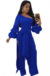 Womens One Shoulder Slitbow Ruffle Flare Sleeve Jumpsuit Sapphire Blue