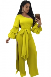 Womens One Shoulder Slit Front Bow Ruffle Flare Sleeve Jumpsuit Yellow