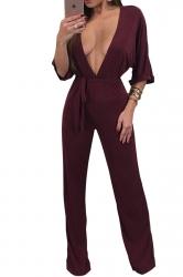 Womens Sexy High Waist Deep V Neck Half Sleeve Bow Jumpsuit Ruby