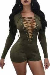 Womens Sexy Deep V-Neck Long Sleeve Lace Up High Waisted Romper Green