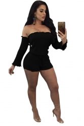 Womens Sexy Off Shoulder Long Sleeve Drawstring Plain Romper Black