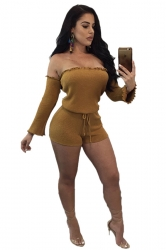 Womens Sexy Off Shoulder Long Sleeve Drawstring Plain Romper Yellow