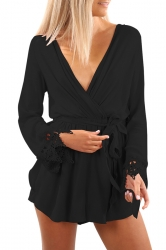 Womens Sexy Deep V-Neck Long Sleeve Lace Bandage Plain Romper Black