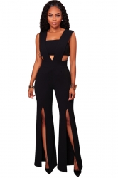 Womens Sexy V-Neck Chest Wrap Side Slit Sleeveless Jumpsuit Black