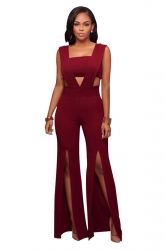 Womens Sexy V-Neck Chest Wrap Side Slit Sleeveless Jumpsuit Ruby