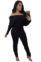Womens Sexy One Shoulder Batwing Sleeve Lace Up Plain Jumpsuit Black